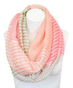 Pink & Khaki Stripe Infinity Scarf.