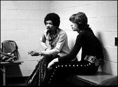 Jimi Hendrix and Mick Jagger - 1969