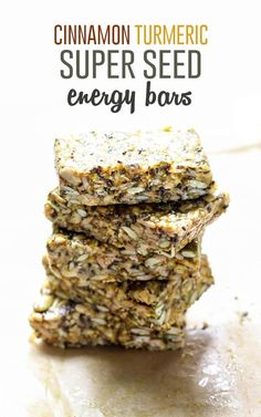 Lots of healthy fats packed into these no-bake Cinnamon Turmeric Super Seed Energy Bars. Lower carbs, and only 5 grams of sugar per bar! Vegan, gluten-free and nut-free friendly. Healthy Bars, Healthy Treats, Eating Healthy, Clean Eating, Healthy Food, Whole Food Recipes, Vegan Recipes, Snack Recipes, Muesli