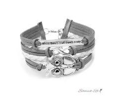 Armband  Eulchen & Infinity grau weiß   im Organza Beutel