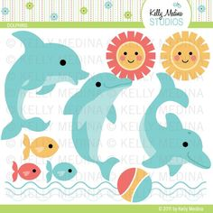 Dolphins - Clip Art Set - Digital Elements Commercial use for Cards, Stationery and Paper Crafts and Products. $5.00, via Etsy.