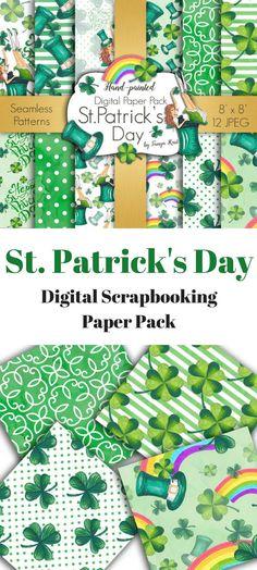 St. Patrick's Day digital scrapbooking paper pack! #ad #stpatricksday #stpattysday #leprechaun #potofgold #digital #instantdownload #shamrock