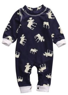 59828f8bf Newborn Infant Baby Girl Boy Moose Casual Long Sleeve Romper One-pieces  Clohtesdresskily