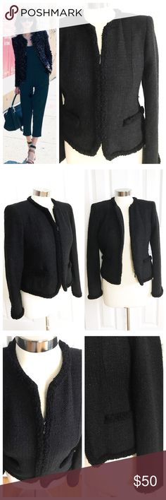 Charter Club Black Tweed Blazer Black tweed blazer with shimmer in material. Zipper, no collar, front pockets. Charter Club size 4 petite. Lining is black. Good used condition! First photo on left not actual item just showing for styling inspiration! Charter Club Jackets & Coats Blazers