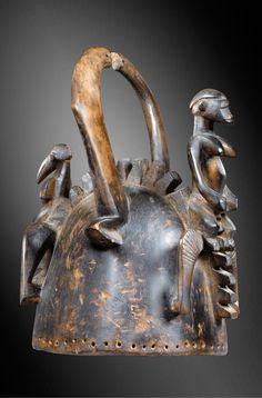 Africa | Helmet mask / headdress from the Senufo people of the Ivory Coast | Wood
