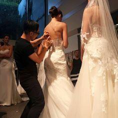 Enzoani designer Kang Chun Lin working hard backstage at the 2015 Enzoani Fashion Event!