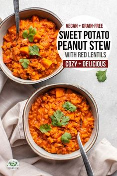 This Sweet Potato, Red Lentil, and Peanut Stew is healthy, hearty, and satisfying. It's a perfect dinner dish - and you only need one pot to make it! Vegetarian Recipes, Cooking Recipes, Healthy Recipes, Easy Red Lentil Recipes, Vegan Soups, Cooking Tips, Healthy Food, Appetizer Recipes, Dinner Recipes