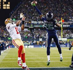 Richard Sherman, Seattle Seahawks number 25, guaranteeing the #Seahawks go to Super Bowl 48.
