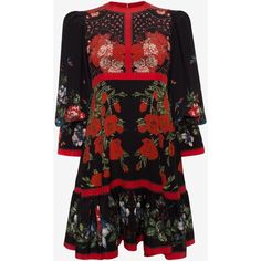 Alexander McQueen Floral Empire-line Dress (€1.720) ❤ liked on Polyvore featuring dresses, silver, floral print dress, long-sleeve maxi dresses, long-sleeve floral dresses, empire line dress and long sleeve empire waist dress
