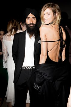 Waris Ahluwahlia and Anja Rubik in Adam Selman at the 2016 CFDA/Vogue Fashion Fund gala dinner.