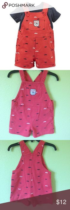"""Carter's Baby Boys Moms Little Speedster Shortall Carter's Baby Boy """"Moms Little Speedster"""" Truck Print Shortall, Size 12M. PLEASE READ ALL BEFORE BUYING  DESCRIPTION COLORS IN PICTURES MAY APPEAR DIFFERENT THAN IN PERSON Please look at all pictures and use the zoom. They are the best way to see details and any wear ALL USED CLOTHING HAVE BEEN WORN AND WASHED THEREFORE WILL HAVE WEAR FROM BOTH Carter's Other"""