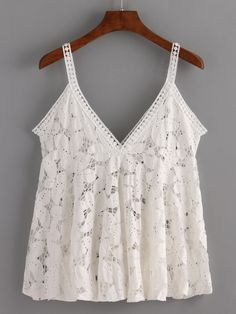 Hollow+Out+Flower+Lace+Cami+Top+-+White+11.99