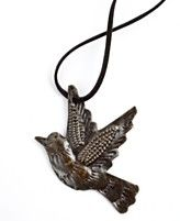 beautiful wood carved bird pendant necklace