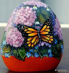 handpainted rock,butterfly and flowers,rock art,yard-art,garden-decor,ngreshamart