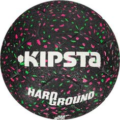 b46b86c64a5 Ballon de football Hardground taille 5 noir vert rose KIPSTA