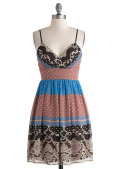 Soiree to Go Girl Dress in Collage - Multi, Print, Casual, Spaghetti Straps, V Neck, Mid-length, A-line