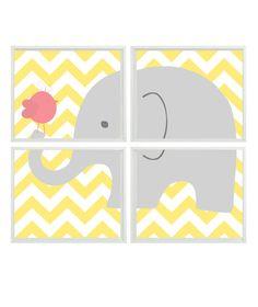 Elephant Nursery Art Chevron Bird -  Print Set Of 4 8x10 - Yellow Gray Pink Decor - Baby Girl Children Kid room - Wall Art Home Decor