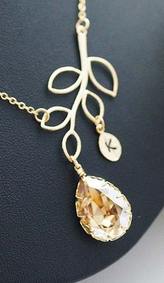 Simple Leaf with Swarovski Tear drop and initial leaf charm Necklace