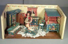 Dora Kuhn German Miniature Doll Room w Dolls & Furniture. Germany US Zone (post 1945)