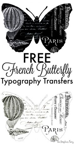 Fabulous French Butterfly Typography Transfers! - This is a great free printable to use in crafts and DIY Home Decor projects! The Graphics Fairy