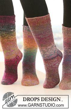 "February is #Sockalicious! DROPS Socks in stockinette st with rib in 2 strands ""Delight"". ~ #DROPSDesign #Garnstudio"