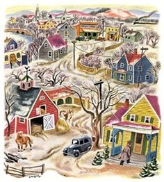 Tibor Gergely.  Although Gergely usually reserved color for his oils and illustrations, he also created vivid gouaches and watercolors that display his love for color saturation and vibrance.     Whether portraying a New England paint factory or a model reclining in the studio, Gergely poured color into these indelible images that leap off the page. As always, he rendered them with sophistication and style.