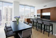 modern kitchen with window overlooking the city