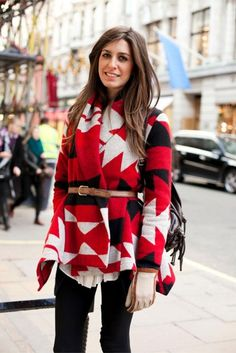 aztec print sweater with belt
