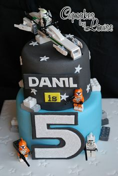 Lego Star Wars theme birthday cake