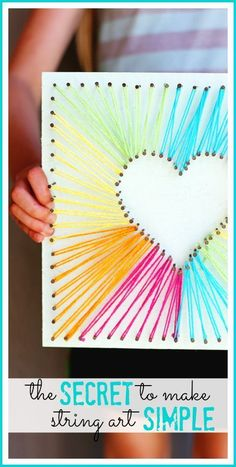 here's a simple way to do string art - - love this diy rainbow string art idea…