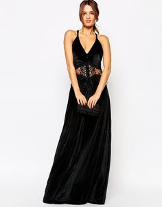 Image 1 ofJarlo Siobhan Velvet Maxi Dress With Lace Insert