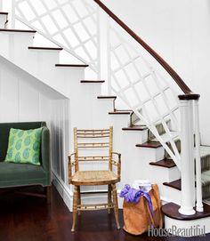 white & dark wood, stairs with velvet seating below, rail detail