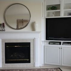 Built In Corner Tv Design, Pictures, Remodel, Decor and Ideas fireplace ideas with tv built ins Built In Tv Cabinet, Tv Built In, Built In Bookcase, Bookcases, Tv Cupboard, Media Cabinet, Alcove Ideas Living Room, Home Living Room, Fireplace Built Ins