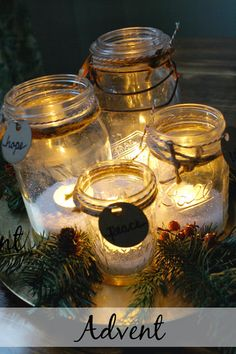 Simple Advent wreath ... this will be my advent wreath for my new home! some empty jars, natural, on my dining room table!