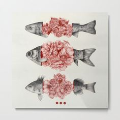 animal fish art illustration flower floral drawing To Bloom Not Bleed (Limited Time Only) Art Print Art And Illustration, Arte Sketchbook, Fish Art, Framed Art Prints, Wall Prints, Canvas Prints, Art Inspo, Art Reference, Art Drawings