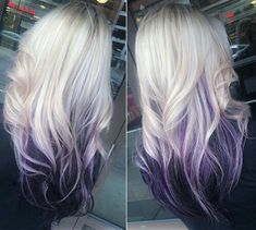 Hair Color Purple, Hair Dye Colors, Cool Hair Color, Purple Ombre, Purple Blonde Hair, White Ombre Hair, Blonde Color, Bright Hair, Crazy Hair