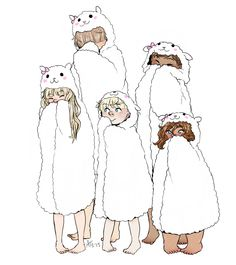 The Delightful Children from Down the Lane in Cat hooded towels or some type of sweatshirt.