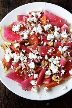 Watermelon Radish and Oranges with Goat Cheese and Walnuts