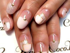 ブロックスクエアフレンチ 【Coco.Nail 表参道店】 http://nail-beautynavi.woman.excite.co.jp/design/detail/5204?pint ≪ #nail #nails #nailart #softgel #natural #white #pink #ネイル #秋ネイル #ソフトジェル≫
