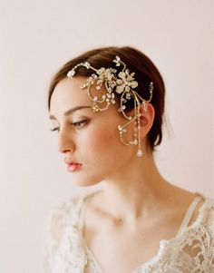 Tiny Enamel Blossom Crystal Hair Vine Bridal Hairband Acessories Wedding Headbands Accessories Headpieces For Weddings