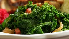 It always amazes me how much a huge bunch of kale shrinks during cooking. This recipe is especially good with the tender Red Russian variety. A squeeze of lemon makes a good finish. Chicken Broth Recipes, Kale Recipes, Canned Chicken, Red Russian Kale, Braised Kale, Side Dish, Healthy Life, Lemon, Stuffed Peppers
