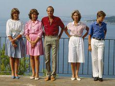 Infantas Elena and Cristina, King Juan Carlos, Queen Sofia, Infante Felipe, Majorca, 1983