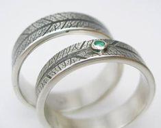 Eheringe Trauringe Silber Blattmaserung grüner Smaragd facettiert