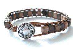 "Wildflower single wrap leather bracelet ""Square Wood Beads"", beachy, boho chic, bohemian bracelet"