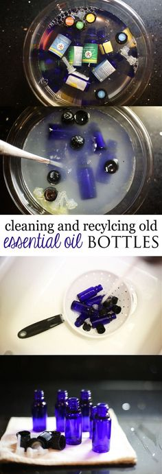 How to clean and recycle old Essential Oil Bottles, with ingredients most have at home.   ***FIRST, DISASSEMBLE THE BOTTLES AND PLACE IN A BAG OF EPSON-SALT, TO SAVE THE LAST DROPS OF ESSENTIAL OIL.  THEN USE THE SCENTED EPSON-SALT IN YOUR BATH AND FOOT SOAK!