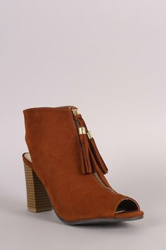 Qupid Tassel Front Zip-Up Chunky Heeled Mule Booties