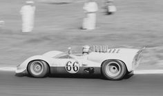 Jim Hall drives his Chaparral 2 at St. Jovite, 1965. He would finish 2nd to Bruce McLaren, whose M1B was showing signs of what the future would hold. Hap Sharp finished 3rd, allowing Jim to maximize his points in the USRRC Championship. Stan Rosenthall photo.