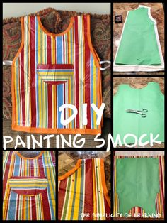 The Simplicity of Learning: Vinyl Tablecloth Smock Painting Apron, Diy Painting, Scrap Fabric Projects, Sewing Projects, Sewing Crafts, Diy Projects, Kids Art Smock, Paint Shirts, Diy Adult