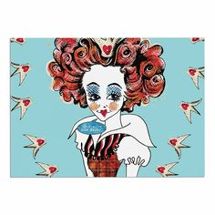KESS InHouse Zara Martina 'Off with Her Head' Red Teal Dog Place Mat, 13' x 18' -- See this great image  (This is an amazon affiliate link. I may earn commission from it)