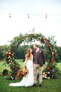 20 Amazing Outdoor Fall Wedding Arches for 2020 Trends Fall Wedding Arches, Fall Wedding Decorations, Fall Wedding Colors, Wedding Arch With Flowers, Wedding Ceremony Floral Arch, Farm Wedding, Rustic Wedding, Wedding Day, Spring Wedding